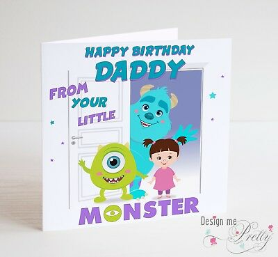 Monsters Inc Fathers Day Card Dad Daddy Father Sully Mike Boo