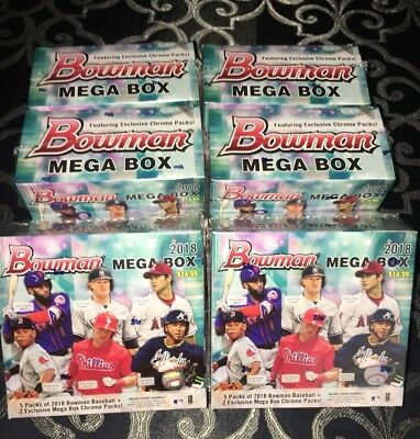 Lot of Six (6) 2018 BOWMAN MEGA BOXES FACTORY SEALED TARGET MOJO REFRACTOR AUTO