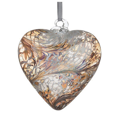 Glass Friendship Heart, 8cm Pastel Gold By Sienna Glass