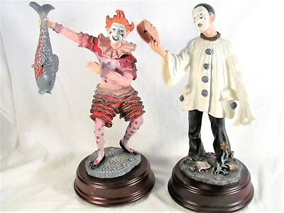 """Set of 2 DUNCAN ROYALE Musical Clowns """"Slapstick"""" And """"Pierrot"""" Music Boxes"""
