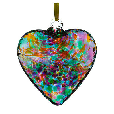 Glass Friendship Heart, 8cm Multicoloured Turquoise By Sienna Glass