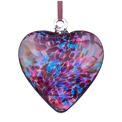 Glass Friendship Heart, 12cm Blue & Pink By Sienna Glass