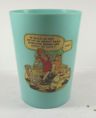 Vintage Little Orphan Annie Ovaltine Beetleware Blue Aqua Cup w Free Shipping