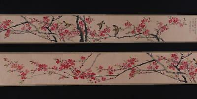 Fine Chinese Hand-painting Painting Scroll Yan Bolong Marked-Flower&bird