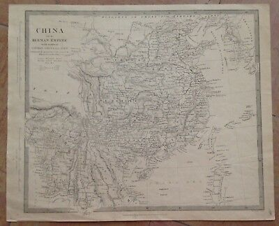 CHINA BURMA KOREA by WALKER 1834 XIXe CENTURY ANTIQUE COPPER ENGRAVED MAP