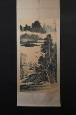 Fine Chinese Hand-painting Painting Scroll Zheng Wuchang Marked-boat
