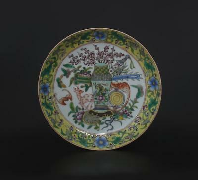 Perfect Antique Chinese Porcelain Famille-Rose Dish Qianlong Mark-deer