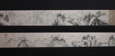 Fine Antique Chinese Hand-painting Scroll Pu Ru Marked-540cm