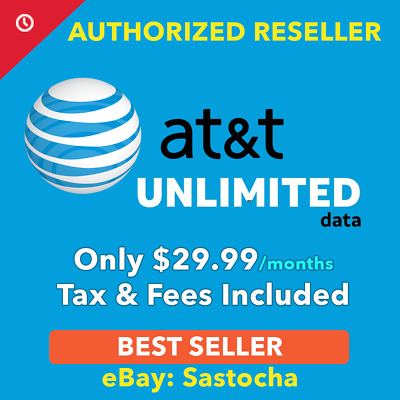 AT&T Unlimited Data 4G LTE Data Plan $29.99/month For Hotspots / Tablets/ Phones
