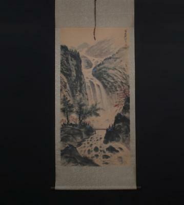 Fine Chinese Hand-painting Painting Scroll Guan shanyue Marked-waterfall