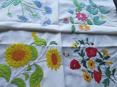 Vintage Hand Embroidered Table Cloth-HEAVILY WORKED FLOWERS
