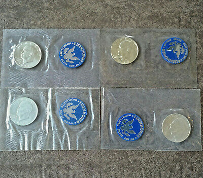 Lot Of Four (4) 1971, 1972, 1973 Eisenhower Uncirculated Silver Dollars