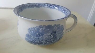 Antique Copeland Spode Chamber Pot Planter Blue White