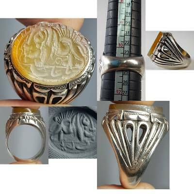 Silver Wonderful Ring Antique Holy Name & Lion Intaglio Stone     # 2A