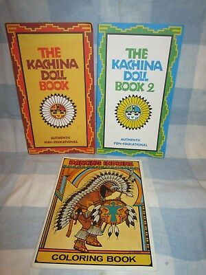 ~3~Vintage KACHINA + NATIVE AMERICAN DANCING COLORING BOOKS Unused New Old Stock