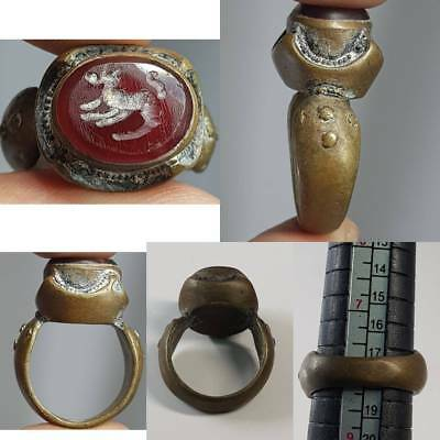 Medieval Old Agate Intaglio Deer Stone Lovely Ring     # 2A