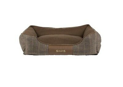 SCRUFFS WINDSOR Pet Dog Box Bed Chestnut Tweed Check Brown S / M / L / XL