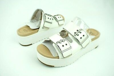 e8fe2ca6e063 Ugg Cammie White Patent Leather Metal Buckle Platform Sandals Size 5.5 Us  Womens