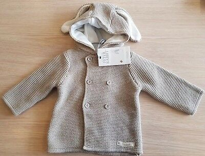 0-3 months Mothercare Peter Rabbit Hooded Cardigan stone beige cream brown BNWT
