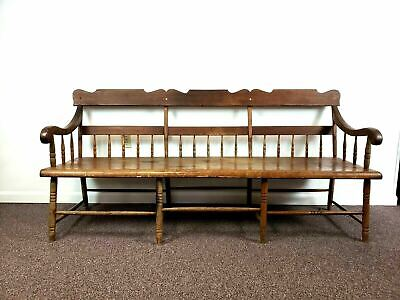 19th Century 7 Foot One Board Windsor Deacons Bench 8 Leg Two Section Stretcher