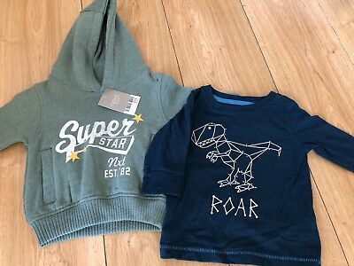 2x NEXT BOYS AGE 3-6 MONTHS  HOODY New With Tags 1x TOP LONG SLEEVE Worn