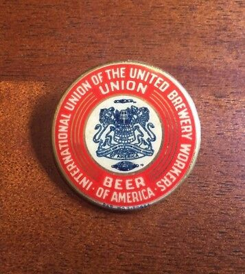 Rare Vintage 1930's Union Beer Pin United Brewery Workers America Bastian Bros