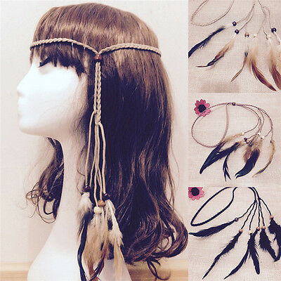 Hippie Indian Feather Headband Handmade Weave Feathers Hair Rope Headdress SR
