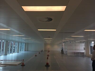 Suspended ceiling SAS plank 1200x300 with grilles and zumtobel light fittings