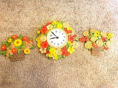 VTG Set of Syroco Flower Clock and WALL HANGINGS USA MADE 1975 MCM Works Great
