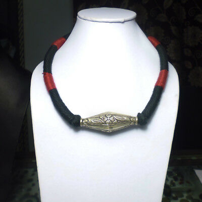 Antique Ethnic Tribal Old Silver Flower Vintage Beads Choker Pendant Necklace