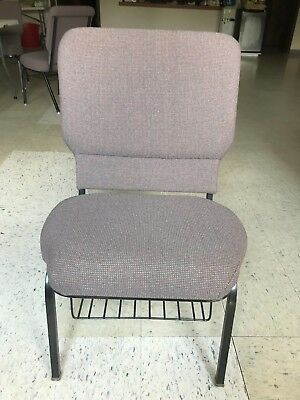 Minimally Used Wide Charcoal Church Chair With Plush Seat