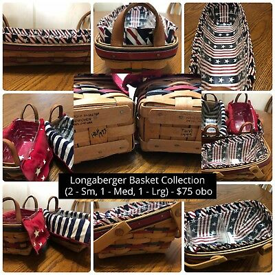 Lot of 4 Longaberger All-American Patriotic Baskets 1990s Collection