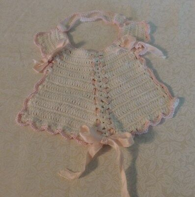 Vintage Fancy Hand Knitted Baby Bib White with Pale Pink Edging &  Satin Ribbons