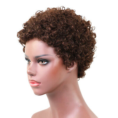 Women Afro Curly Short Wig Heat Resistant Full Real Human Hair Natural Brown