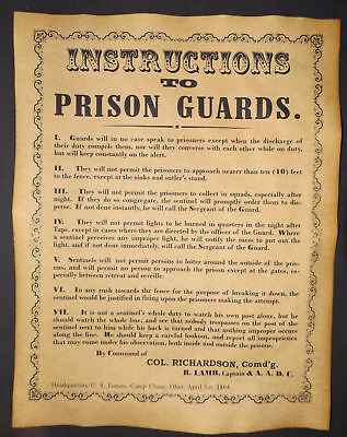 Civil War Poster - Instructions to Prison Guards, Union, Camp Chase, Ohio