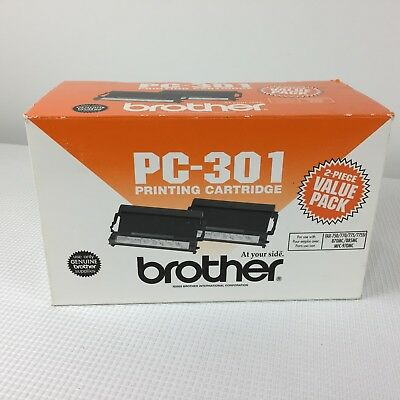 BROTHER PC-301 Printing Cartridge Two Pack Black Fax 750 770 775 870mc 885mc NEW