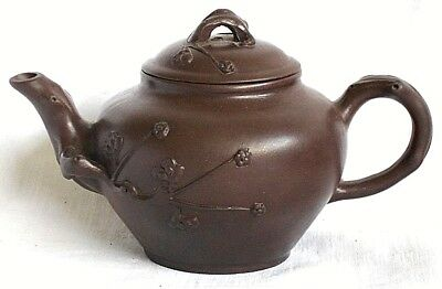 Chinese Yixing Teapot With Relief Moulded Buds And Flowers
