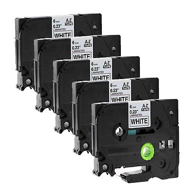 5PK Black on White Label Tape TZ TZe-211 0.24'' for Brother P-touch printer 6mm