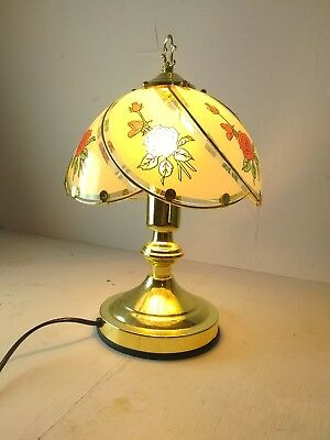 Vintage 80s 90s Tiffany style touch lamp table/desk - working + w/defect