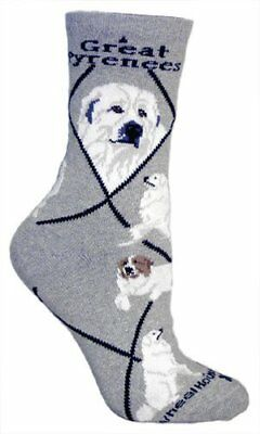 Great Pyrenese Dog Breed Gray Lightweight Stretch Cotton Adult Socks