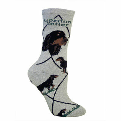 Gordon Setter Dog Breed Gray Lightweight Stretch Cotton Adult Socks