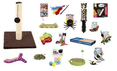 Cat Toys Catnip Scratch Post Board Soft Toy Laser Pen Kong Rat Wand Dangle
