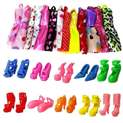 DIY Handmade Party 12 Clothes Fashion Mixed Style Dress Shoes for Barbie Doll