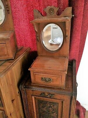 Antique wooden Dressing Table Top Vanity mirror with drawer  - Boat / Barge WC