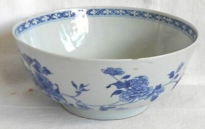 C18Th Chinese Blue And White Bowl Decorated With Flowers And Birds