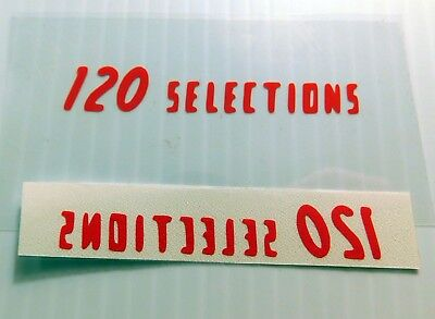 """AMI W120 """"120 SELECTIONS"""" Plotted Vinyl Decal for Wallbox Glass FREE Shipping!"""