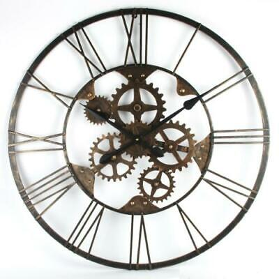 Industrial Style Round Metal Skeletal Design Cut Out Wall Clock 80cm