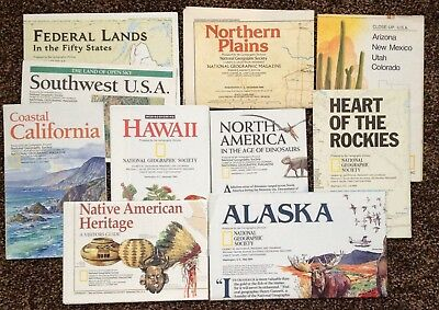 45 National Geographic Maps and Inserts (Various subjects-see photos)