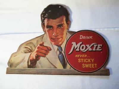 Drink Moxie Never Sticky Sweet Soda Pop Cola Paper Cardboard Advertising Sign