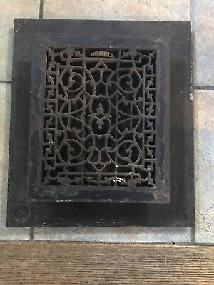 Antique Victorian Cast Iron Floor Grate With Frame And Louvers